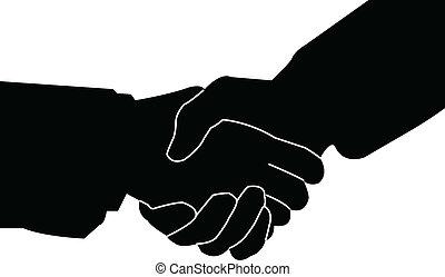 kézfogás, vektor, -