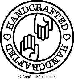 kézi, jelvény, handcrafted
