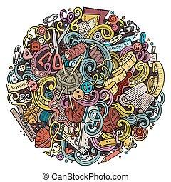 kézi munka, doodles, csinos, kéz, karikatúra, húzott, ábra