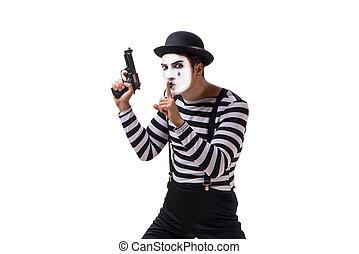 kézifegyver, fehér, komédiás, elszigetelt, háttér
