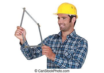 kézikönyv, övé, meter., munkás, alakítás, épület