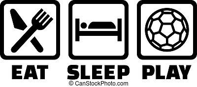 kézilabda, játék, alszik, eszik