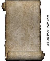 kézirat, durva, tekercs, közül, pergament