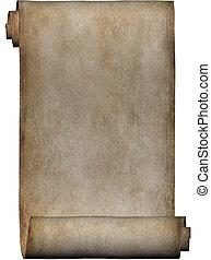 kézirat, tekercs, közül, pergament