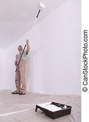 kézműves, festmény, egy, plafon