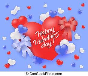 kínálat, valentines, vektor, tervezés, nap, különleges, boldog