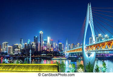 kína, állati tüdő, chongqing, város
