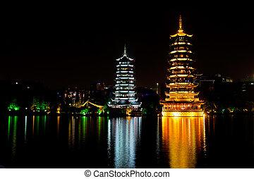 kína, guilin, pagodák