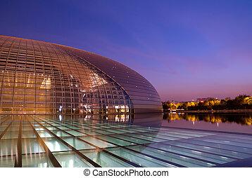 kína, nemzeti, nagy, színház, (national, székhely, helyett, a, előadó, arts), vagy, a, tojás, éjjel, beijing, kína