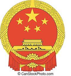 kína, nemzeti, vektor, embléma