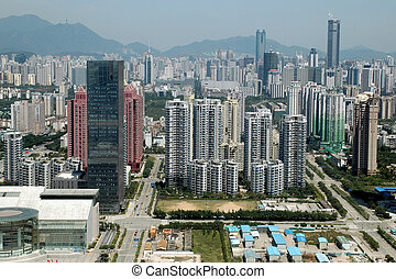 kína, shenzhen, város, felülnézet