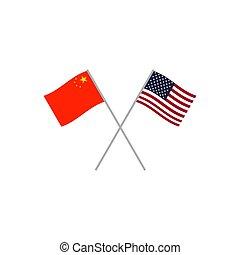 kína, zászlók, usa
