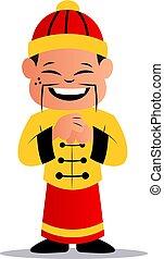 kínai, ábra, vektor, háttér, fehér, karikatúra, ember