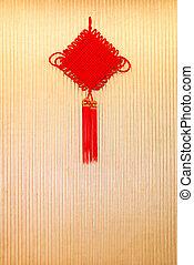 kínai, csomó, egy, jó szerencse, jelkép, felakaszt, fal