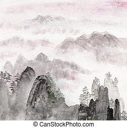 kínai, festmény, közül, magas, hegy parkosít