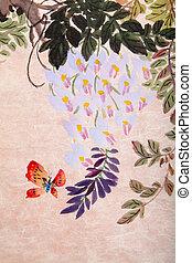 kínai, festmény, közül, menstruáció, és, lepke
