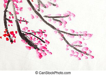 kínai, festmény, közül, menstruáció, szilva virágzik