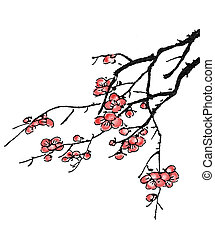 kínai, festmény, közül, szilva virágzik