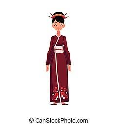 kínai woman, alatt, hagyományos, nemzeti, jelmez, hosszú, cheongsam, ruha