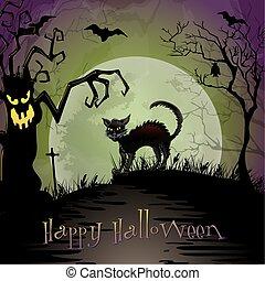 kísérteties, éjszaka, halloween táj, macska