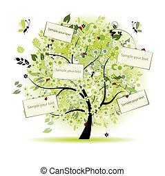 kíván, fa, virágos, szöveg, kártya, -e