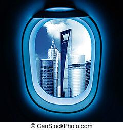kívül, a, ablak, közül, a, repülőgép, cityscape