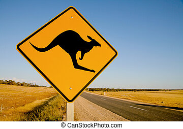k�nguruh, australia, warnzeichen