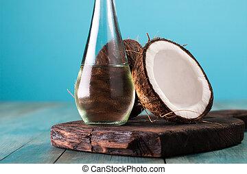kókuszdió, olaj, öreg, fából való, kókuszdió, friss, asztal