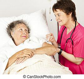 kórház, ad, befecskendezés, ápoló