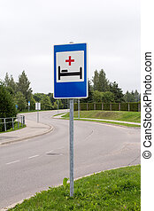 kórház, aláír, mellett, a, út