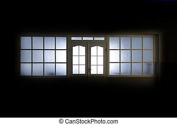 kórház, belső, ablak, üres, előszoba