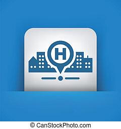 kórház, elhelyezés