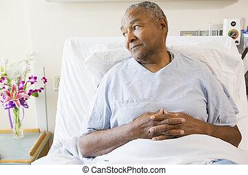 kórház, ember, idősebb ember, ágy, ülés