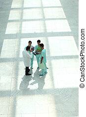 kórház, kilátás, tető, bejárat, bot