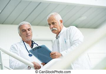 kórház, modern, két, jár, beszéd, át, ők, orvosok