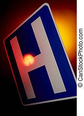 kórház, szükséghelyzet, út cégtábla