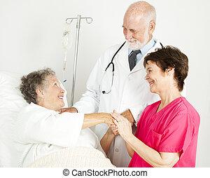 kórház, törődik, bot
