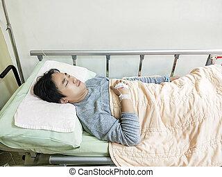 kórház, türelmes, ágy, ember