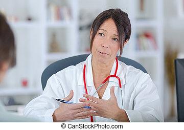 kórház, türelmes, doktornő