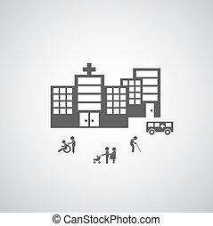 kórház, tervezés, jelkép