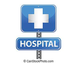 kórház, utca cégtábla