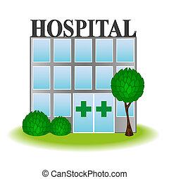 kórház, vektor, ikon