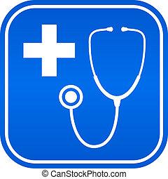 kórház, vektor, jelkép