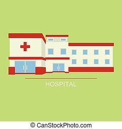 kórház, vektor, multistorey, kortárs, ábra