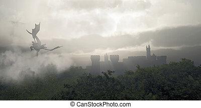 ködös, képzelet, erdő