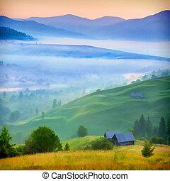 ködös, village., reggel, hegyek