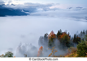 köd, alatt, alpok, közben, ősz