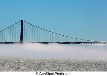 köd, felett, arany- kapu bridzs
