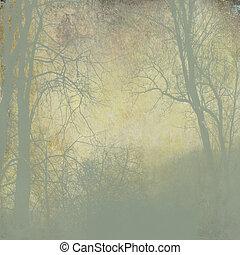 köd, grunge, háttér, arany-, zöld erdő