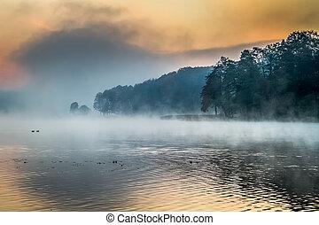 köd, tó, napkelte